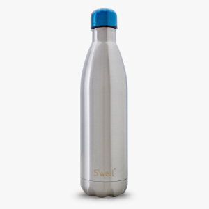 Ocean blue cap silver shiny swell water bottle