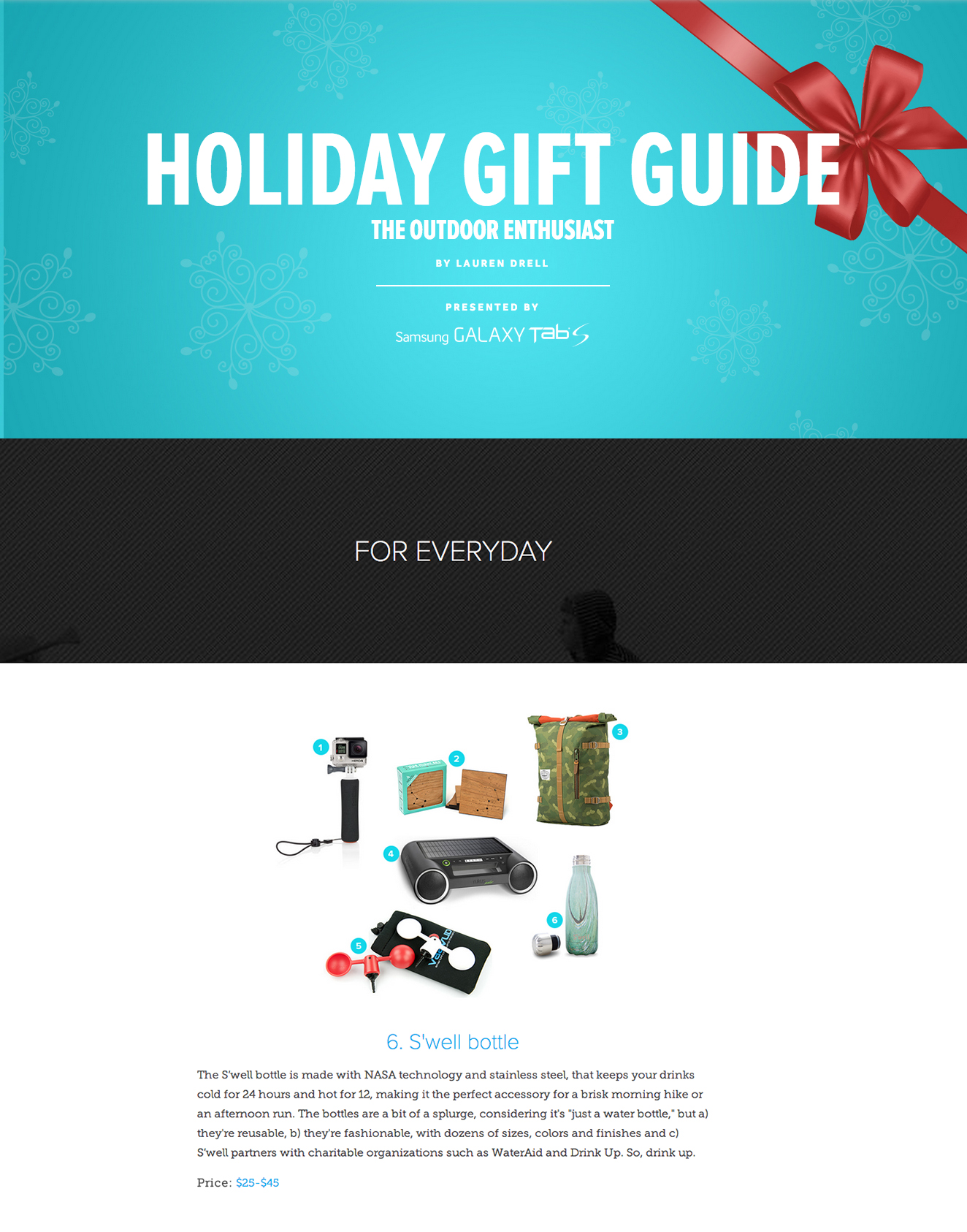 mashable holiday gift guide S'well Bottle