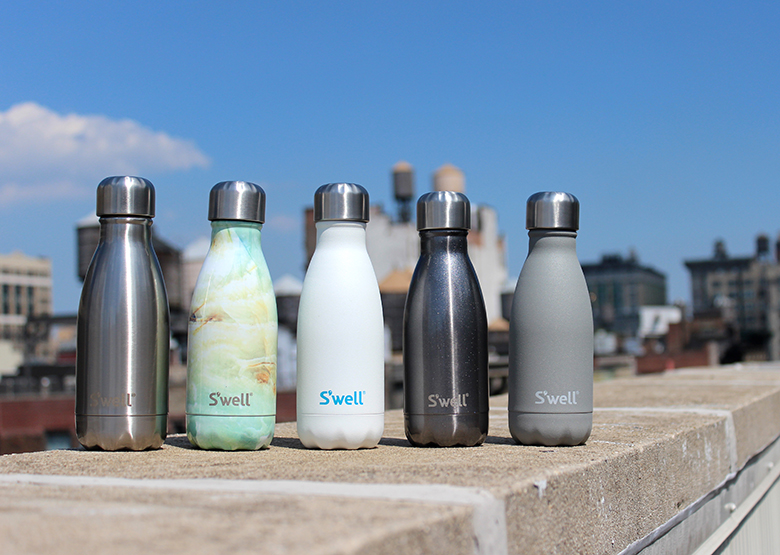 Summer weekend in the city with small stainless steel water bottle