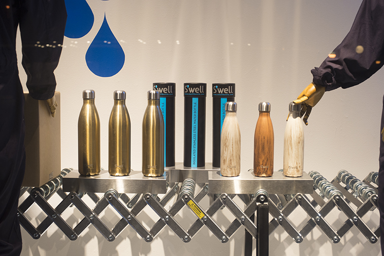 S'well water bottle window display at Bloomingdale's department store in New York City